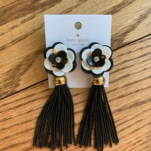 Kate Spade Floral Earrings Black/White